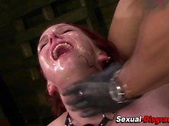 Bound slave gets toyed
