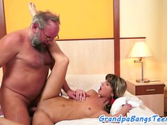 Young babe pounded and facialized by grandpa