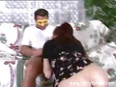 Masked hottie Italian with red hair Moglie Rossa gets porked