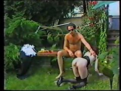 Classic action with Anita Feller on her maid knees outdoors getting ass fucked