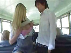Asian guy white girls interracial on the bus