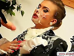 Hottest strapon slut spraying babes face with bukkake