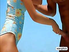 Pretty teen blonde slut Alyona pounded and cum blasted outdoor