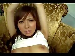 Asian Girl With Handcuff Fingered And Fingering Herself While Giving Blowjob For Guy Cum To Hand On The Carpet