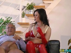 Stockings brit rides cock