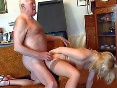 Old grandpa fucks young blonde