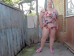 Russian mother of pissing in the nylon pantyhose.