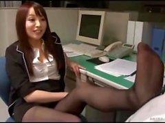 Japanese office foot worship