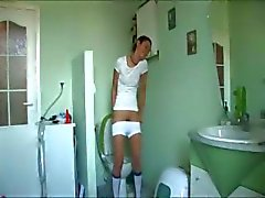 germanian Natasha at water closet