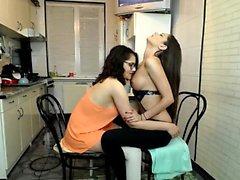 Real lesbos kiss and lick nipples