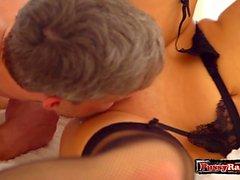Shaved pussy pornstar threesome and orgasm