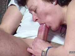 Son Caught Step-Mom Maturbate and get his First Fuck by her
