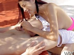 Little beauty Taming a naughty lovestick outdoors