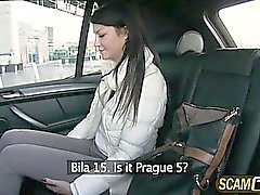 Hot Penelope rides taxi and gets fucked