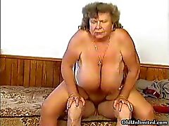 Dirty grandma with big tits riding part5
