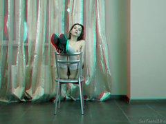 Beautiful teen girl posing nude - 3D backstage