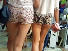 Turkish girl's with nice mini shorts in Bodrum street.