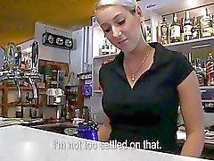 Amateur Lenka railed in the bar for cash