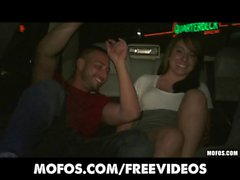 Mofos - College party girls strip down in the back of a limo