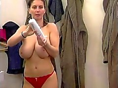 Busty Wife in Bathroom with GF