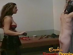Sexy brunette interrogates a loser with her