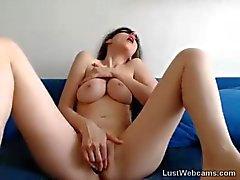Busty hottie has multiple orgasms on webcam