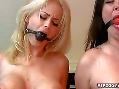 Ball gagged slave girls with big boobs Nastasia Pierce and Emily