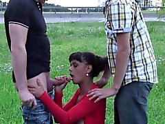 Cute teen girl PUBLIC gangbang orgy by a highway Part 2