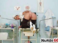 Hot nurse Rihanna Samuel doing herself on gynchair