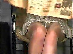Pantyhose upskirt, no panties
