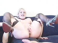 Dutch slave Uma gets dp'ed and eats cum
