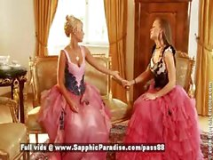 Hailee and Mya blonde and redhead lesbian girls kissing and undressing