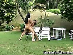 Shemale Simone Does Anal Outdoors