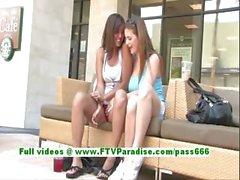 Miyu and Danielle sensual lesbians kissing and flashing tits in public