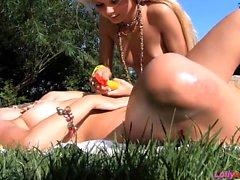 Blonde Teens Enjoy By The Outdoor Pool
