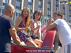 drunk teen girls stripping on the road
