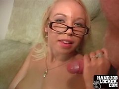 Giant tit blonde slut plays with dick