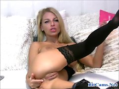 Skinny blonde anal toy in webcam chat