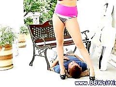 BBW skank loves face sitting on top of their skinny stud