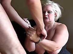 Squirting mature skank cuffed and fucked