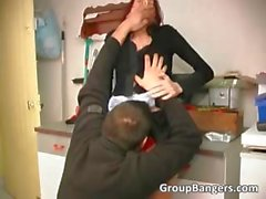 Sexy young redhead girl banged by two part3