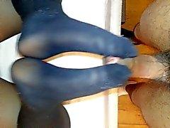 Fabrika çıkışı girlriend nylon footjob