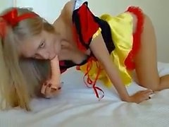 A skinny girl plays to snow white