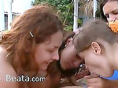 amazing gangbang with four girls and me