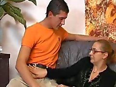 Granny In Fishnets Takes A Big Boner !