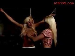 Busty Blonde With Breast Bondage Strangled Mouth Fingered By Mistress In The Dungeon