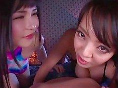 Anri and Hitomi sucking cock pov