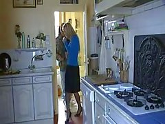 Passionate sex in the kitchen makes both lovers happy and pleased.