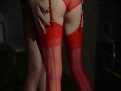 Unique lezzs in pantyhose using strap