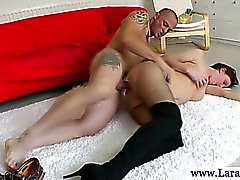 Mature stockings milf getting slammed on couch